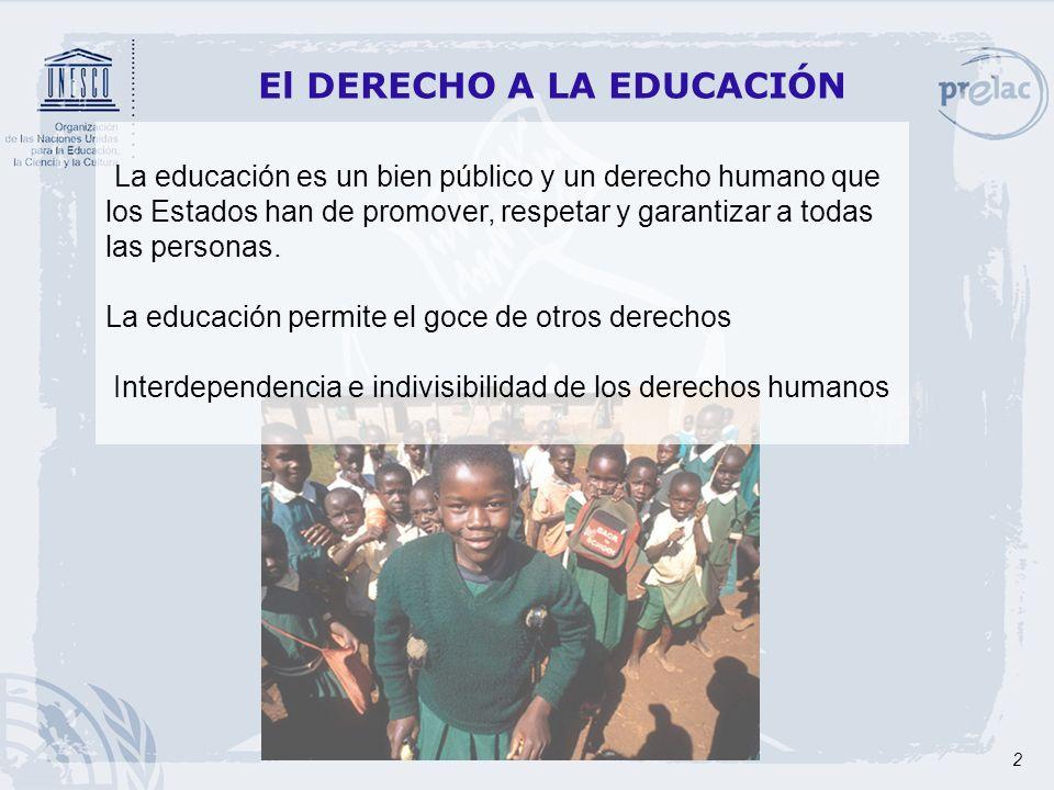 3 DIMENSIONES DEL DERECHO A LA EDUCACIÓN El derecho a la educación es más que la mera escolarización, su pleno goce implica: Educación de calidad a lo largo de la vida Educación obligatoria y gratuita Igualdad de oportunidades y no discriminación El derecho a la participación El derecho a la propia identidad El derecho a una educación inclusiva