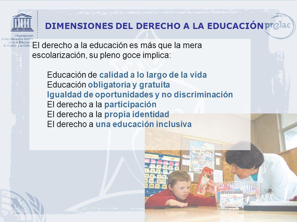 3 DIMENSIONES DEL DERECHO A LA EDUCACIÓN El derecho a la educación es más que la mera escolarización, su pleno goce implica: Educación de calidad a lo
