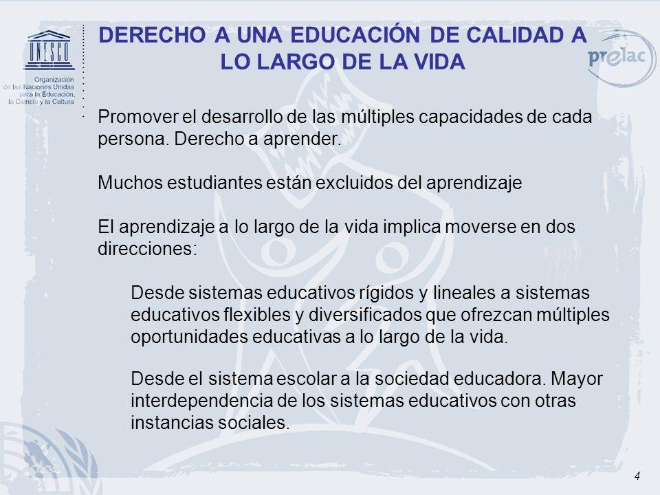 4 DERECHO A UNA EDUCACIÓN DE CALIDAD A LO LARGO DE LA VIDA Promover el desarrollo de las múltiples capacidades de cada persona. Derecho a aprender. Mu
