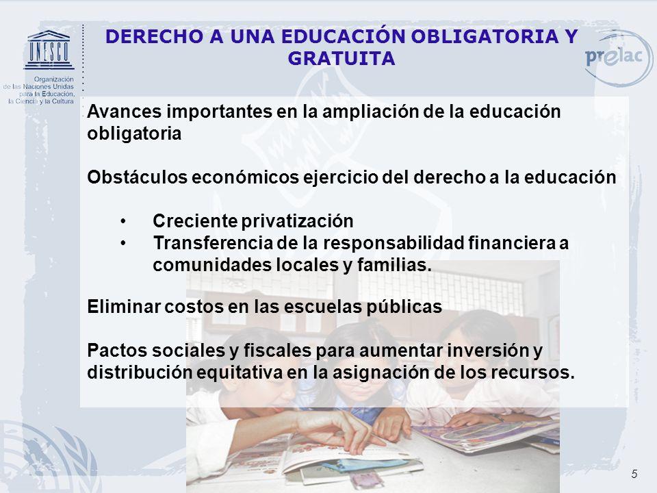 5 DERECHO A UNA EDUCACIÓN OBLIGATORIA Y GRATUITA Avances importantes en la ampliación de la educación obligatoria Obstáculos económicos ejercicio del