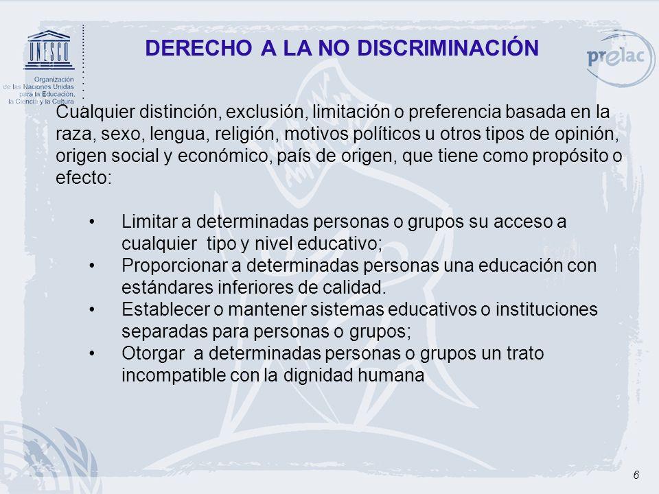 6 DERECHO A LA NO DISCRIMINACIÓN Cualquier distinción, exclusión, limitación o preferencia basada en la raza, sexo, lengua, religión, motivos político