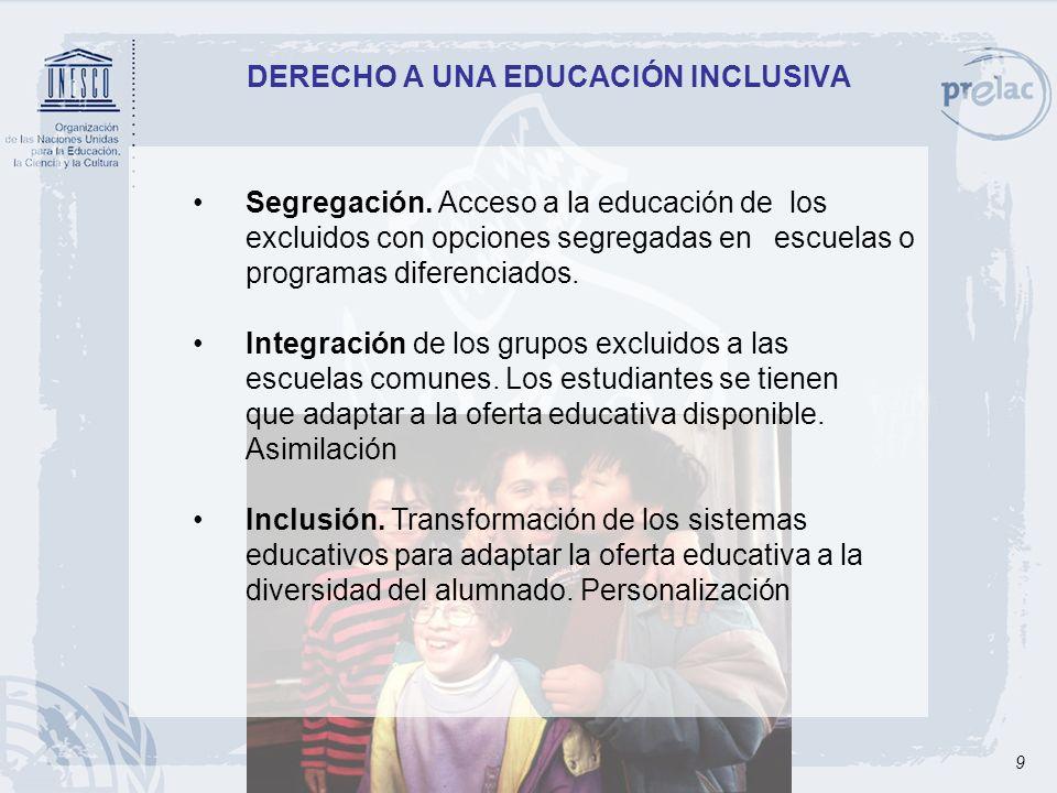 9 DERECHO A UNA EDUCACIÓN INCLUSIVA Segregación. Acceso a la educación de los excluidos con opciones segregadas en escuelas o programas diferenciados.