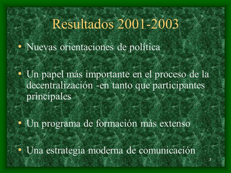 3 Resultados 2001-2003 Nuevas orientaciones de política Un papel más importante en el proceso de la decentralización -en tanto que participantes principales Un programa de formación más extenso Una estrategia moderna de comunicación