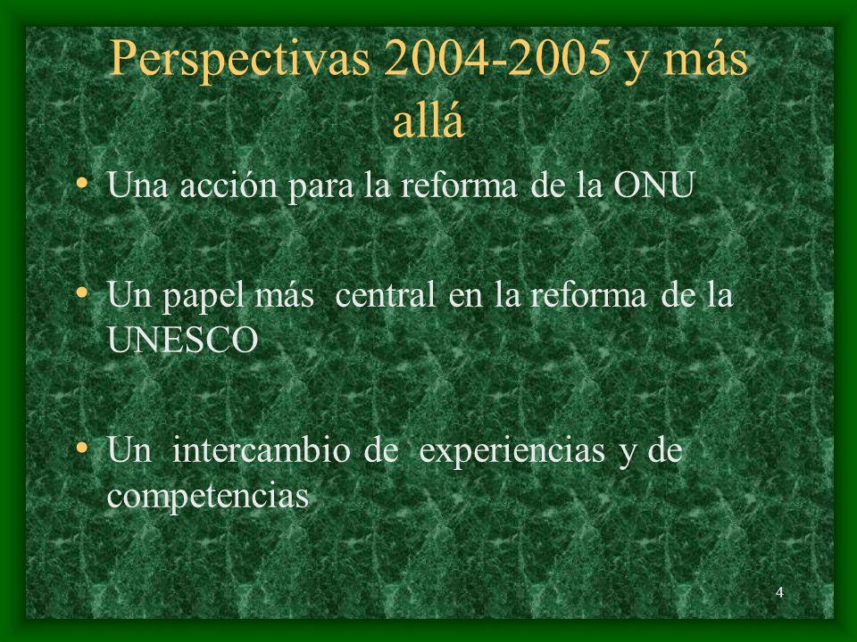 4 Perspectivas 2004-2005 y más allá Una acción para la reforma de la ONU Un papel más central en la reforma de la UNESCO Un intercambio de experiencias y de competencias