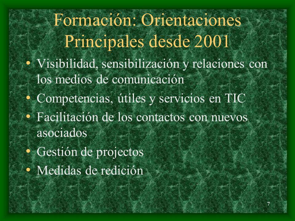 7 Formación: Orientaciones Principales desde 2001 Visibilidad, sensibilización y relaciones con los medios de comunicación Competencias, útiles y servicios en TIC Facilitación de los contactos con nuevos asociados Gestión de projectos Medidas de redición