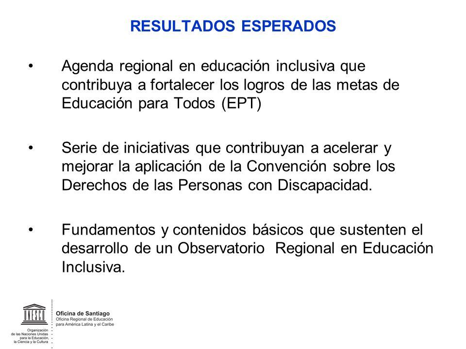 RESULTADOS ESPERADOS Agenda regional en educación inclusiva que contribuya a fortalecer los logros de las metas de Educación para Todos (EPT) Serie de