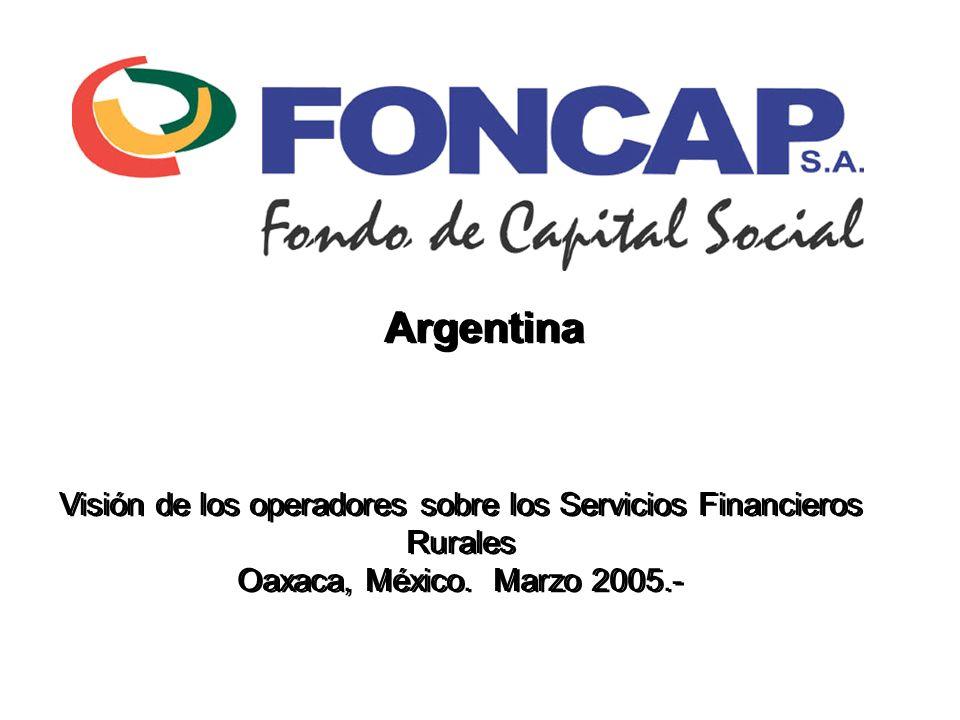 Foncap - Marzo 20052 Argentina en Números Diciembre 2004 Población36.260.130 1 Pobreza 46,3% 2 PEA38,6% 3 Tasa de desocupación14% 4 PBI Nominal en miles de millones de U$S146.1 5 PBI Nominal p/cápita en U$S4.029 6 Inflación acumulada anual6,1% 1; 2; 3; 4 Fuente: INDEC censo 2001 5;6 Fuente: BCRA