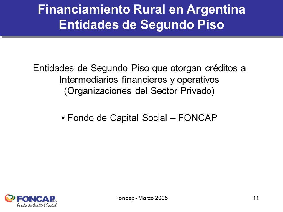 Foncap - Marzo 200511 Financiamiento Rural en Argentina Entidades de Segundo Piso Entidades de Segundo Piso que otorgan créditos a Intermediarios financieros y operativos (Organizaciones del Sector Privado) Fondo de Capital Social – FONCAP