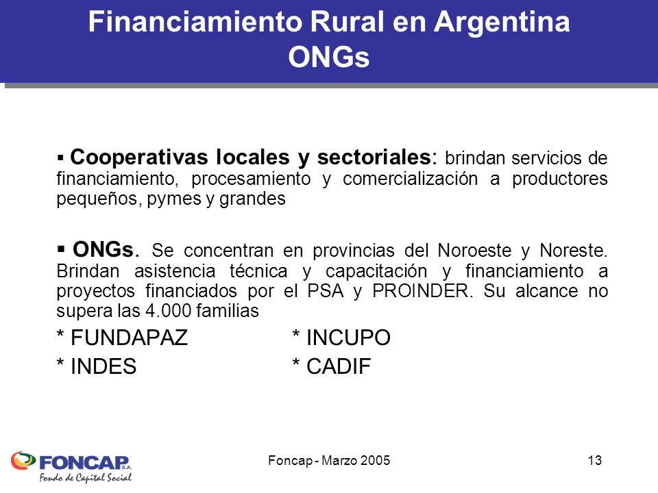 Foncap - Marzo 200513 Cooperativas locales y sectoriales: brindan servicios de financiamiento, procesamiento y comercialización a productores pequeños, pymes y grandes ONGs.