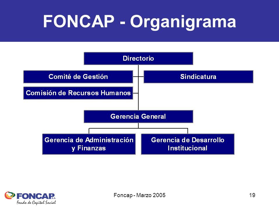 Foncap - Marzo 200519 FONCAP - Organigrama