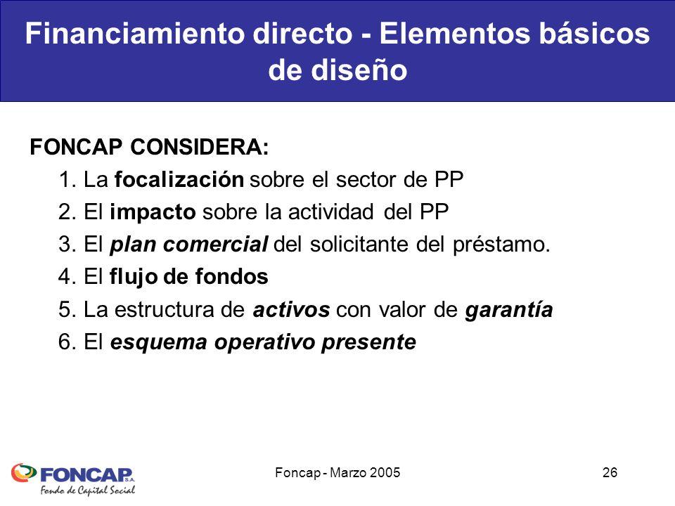 Foncap - Marzo 200526 Financiamiento directo - Elementos básicos de diseño FONCAP CONSIDERA: 1.