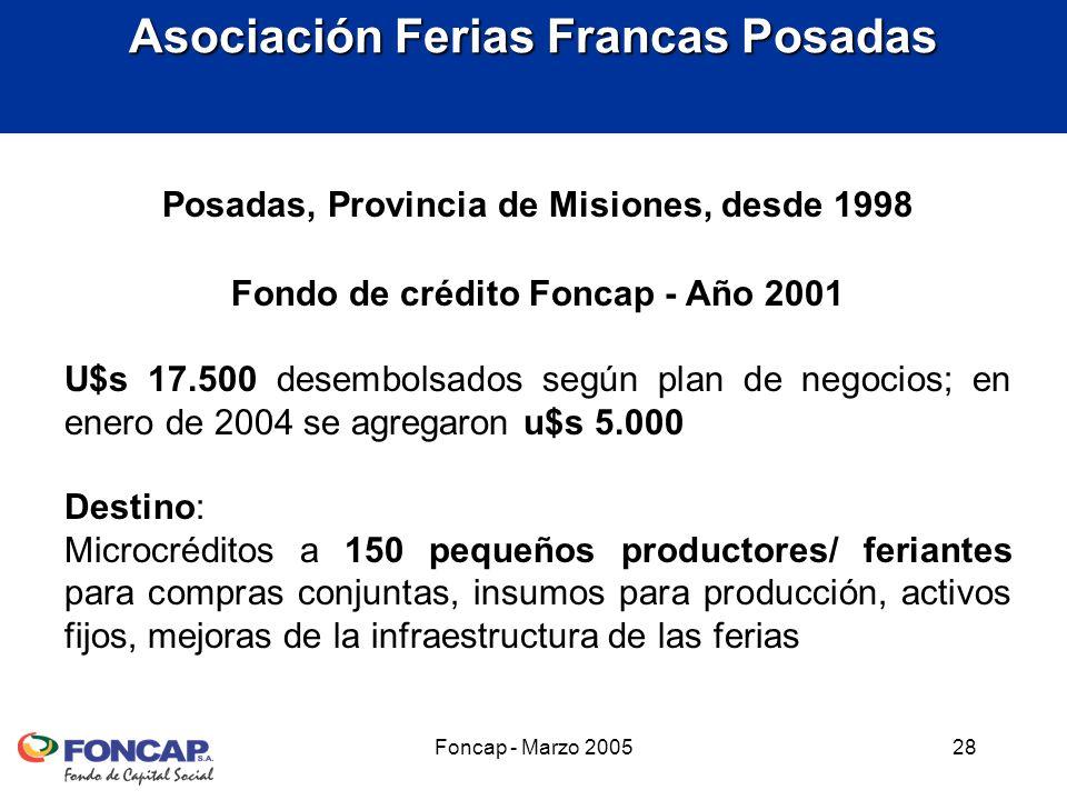 Foncap - Marzo 200528 Posadas, Provincia de Misiones, desde 1998 Fondo de crédito Foncap - Año 2001 U$s 17.500 desembolsados según plan de negocios; en enero de 2004 se agregaron u$s 5.000 Destino: Microcréditos a 150 pequeños productores/ feriantes para compras conjuntas, insumos para producción, activos fijos, mejoras de la infraestructura de las ferias Asociación Ferias Francas Posadas