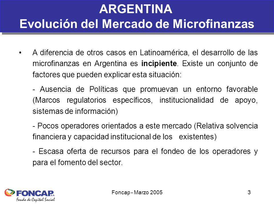 Foncap - Marzo 20053 A diferencia de otros casos en Latinoamérica, el desarrollo de las microfinanzas en Argentina es incipiente.