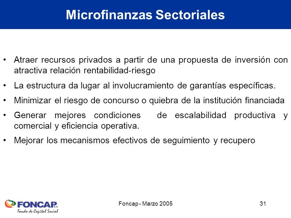 Foncap - Marzo 200531 Microfinanzas Sectoriales Atraer recursos privados a partir de una propuesta de inversión con atractiva relación rentabilidad-riesgo La estructura da lugar al involucramiento de garantías específicas.