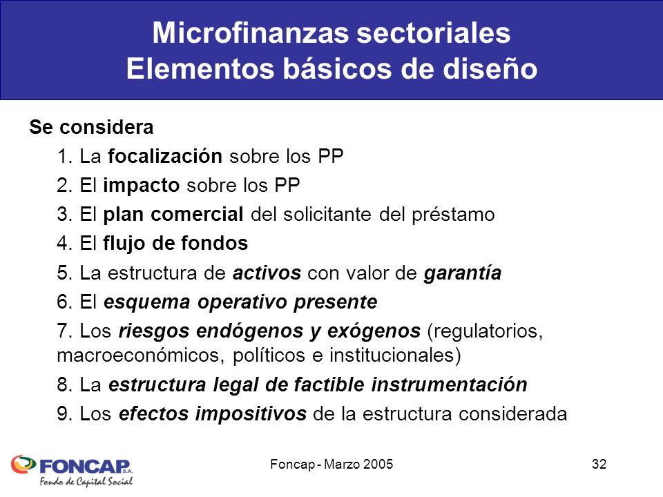 Foncap - Marzo 200532 Microfinanzas sectoriales Elementos básicos de diseño Se considera 1.