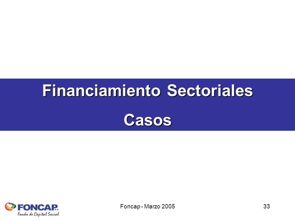 Foncap - Marzo 200533 Financiamiento Sectoriales Casos