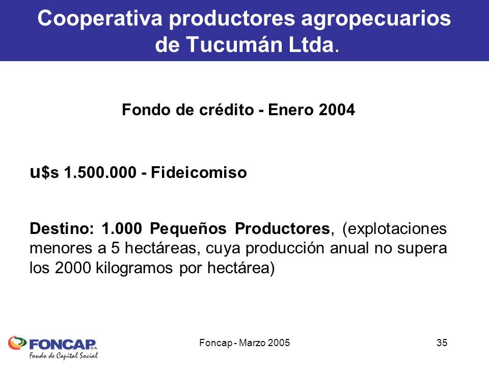 Foncap - Marzo 200535 Cooperativa productores agropecuarios de Tucumán Ltda.