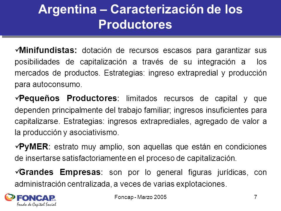 Foncap - Marzo 20057 Minifundistas: dotación de recursos escasos para garantizar sus posibilidades de capitalización a través de su integración a los mercados de productos.