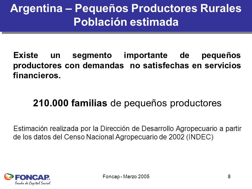 Foncap - Marzo 20059 1960-1990- Banca Oficial 80% al sector agropecuario Banco Nación Argentina (BNA)44 % Bancos Provinciales27 % Bancos Privados (nacionales y extranjeros)29 % Desde liberalización de la economía se redujo la participación del BNA y aumentó la de los bancos provinciales (muchos de ellos privatizados) y del sector financiero privado Informe Final – Evaluación del Componente Financiero del PSA y Propuestas para su rediseño.