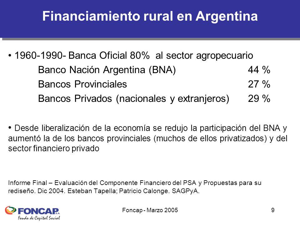 Foncap - Marzo 200510 Oferta crediticia rural bancaria concentrada en PyMER y Grandes Productores de la Pampa Húmeda Sistemas semi-formales: Estado nacional y provinciales y ONGs que trabajan en desarrollo rural.