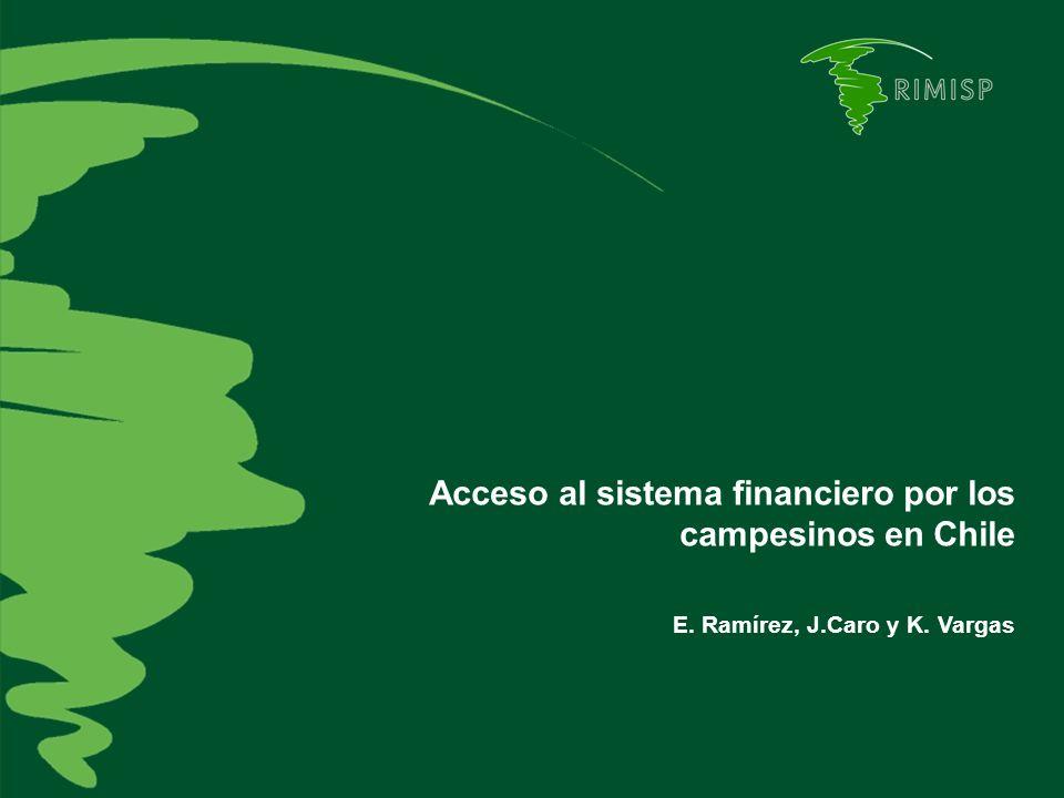 Estructura de la presentación 1.Introducción 2.Fallas de mercados financieros rurales y rol de las políticas públicas 3.Líneas de acción de INDAP 4.Los datos disponibles 5.Características de los clientes de INDAP 6.Acceso a mercados financieros de los campesinos 7.¿INDAP desplaza al sitema financiero formal.