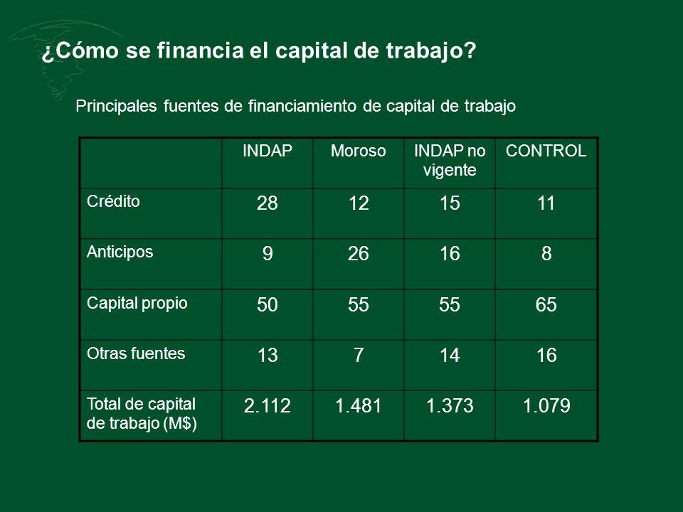 ¿Cómo se financia el capital de trabajo? INDAPMorosoINDAP no vigente CONTROL Crédito 28121511 Anticipos 926168 Capital propio 5055 65 Otras fuentes 13