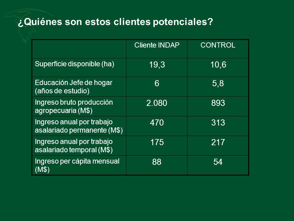 ¿Quiénes son estos clientes potenciales? Cliente INDAPCONTROL Superficie disponible (ha) 19,310,6 Educación Jefe de hogar (años de estudio) 65,8 Ingre