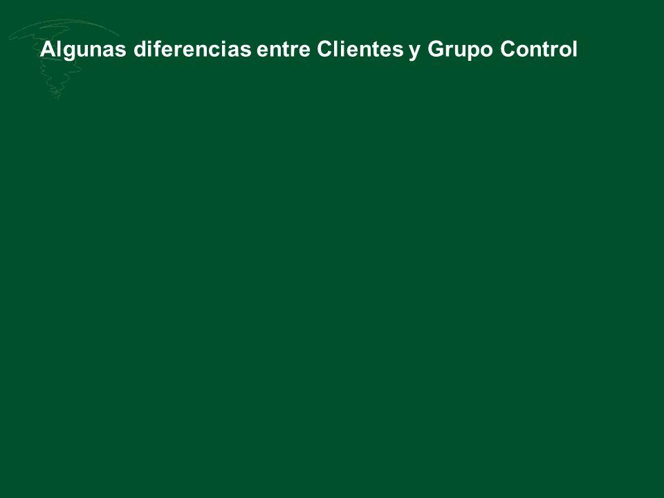 Algunas diferencias entre Clientes y Grupo Control