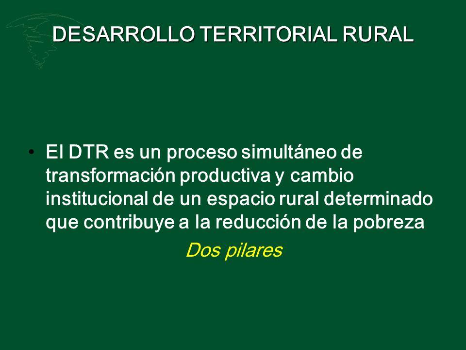 DESARROLLO TERRITORIAL RURAL El DTR es un proceso simultáneo de transformación productiva y cambio institucional de un espacio rural determinado que c