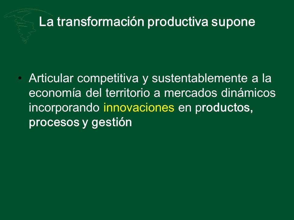 La transformación productiva supone Articular competitiva y sustentablemente a la economía del territorio a mercados dinámicos incorporando innovacion
