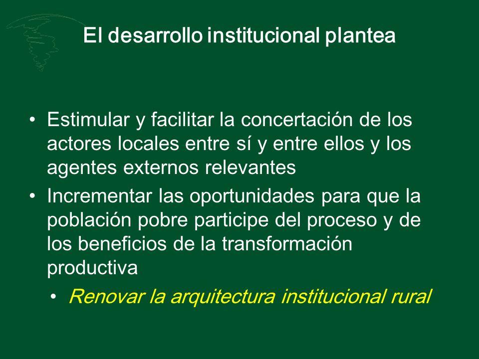 El desarrollo institucional plantea Estimular y facilitar la concertación de los actores locales entre sí y entre ellos y los agentes externos relevan