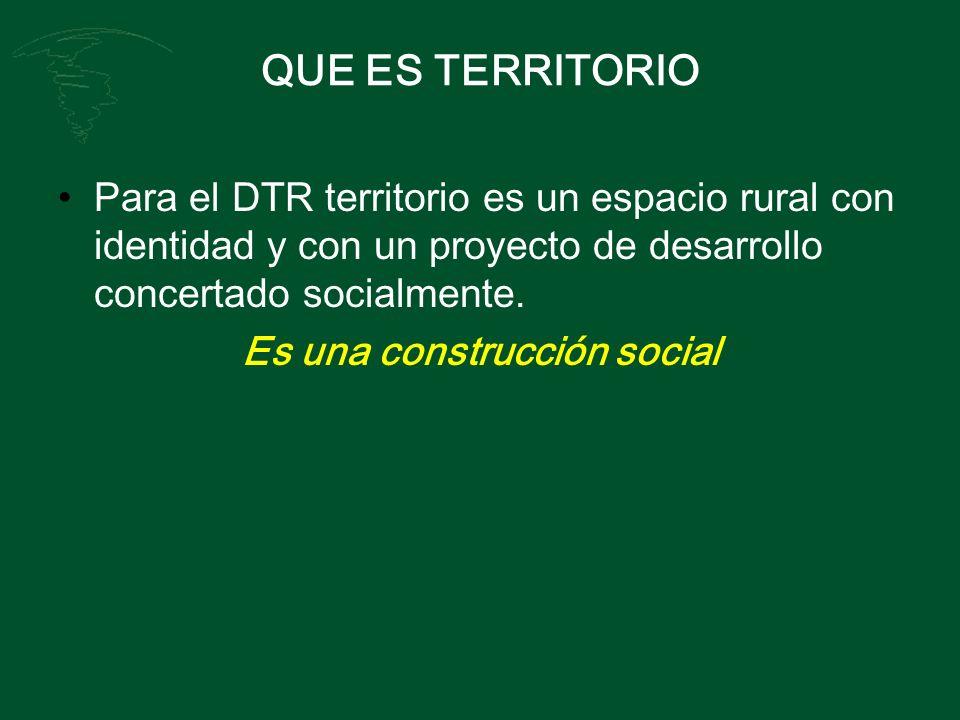 QUE ES TERRITORIO Para el DTR territorio es un espacio rural con identidad y con un proyecto de desarrollo concertado socialmente. Es una construcción