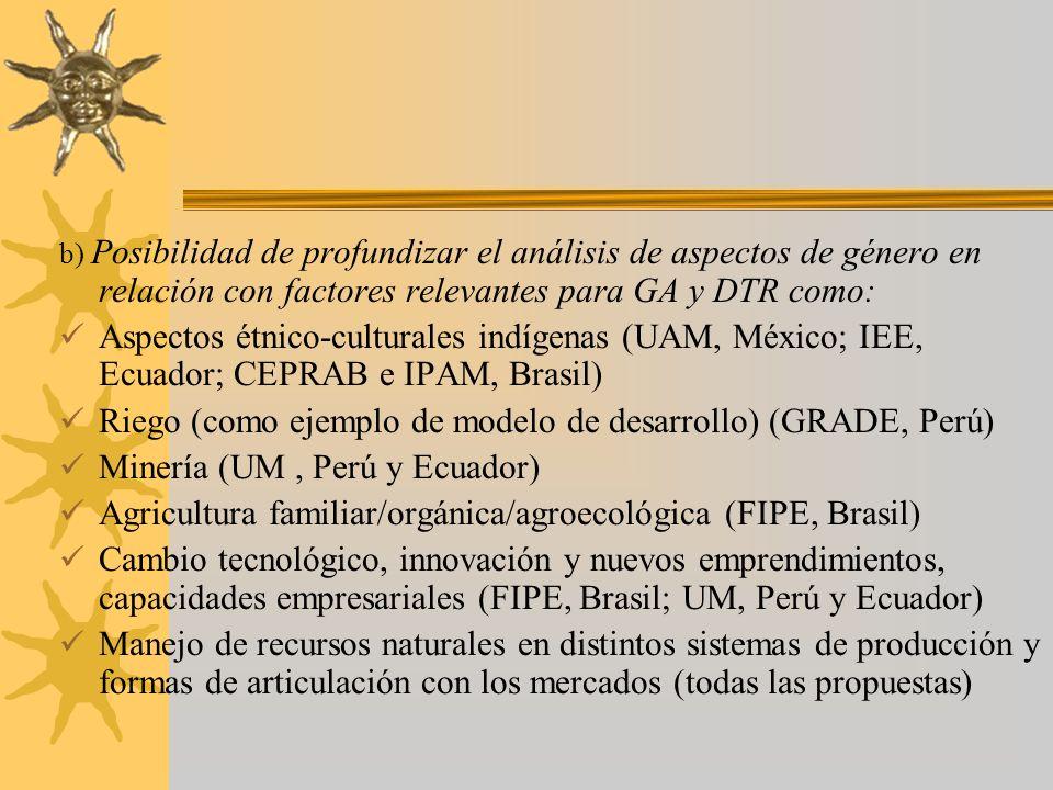 b) Posibilidad de profundizar el análisis de aspectos de género en relación con factores relevantes para GA y DTR como: Aspectos étnico-culturales indígenas (UAM, México; IEE, Ecuador; CEPRAB e IPAM, Brasil) Riego (como ejemplo de modelo de desarrollo) (GRADE, Perú) Minería (UM, Perú y Ecuador) Agricultura familiar/orgánica/agroecológica (FIPE, Brasil) Cambio tecnológico, innovación y nuevos emprendimientos, capacidades empresariales (FIPE, Brasil; UM, Perú y Ecuador) Manejo de recursos naturales en distintos sistemas de producción y formas de articulación con los mercados (todas las propuestas)