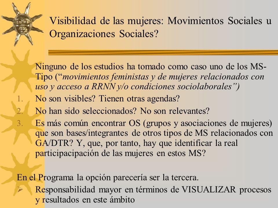 Visibilidad de las mujeres: Movimientos Sociales u Organizaciones Sociales? Ninguno de los estudios ha tomado como caso uno de los MS- Tipo (movimient