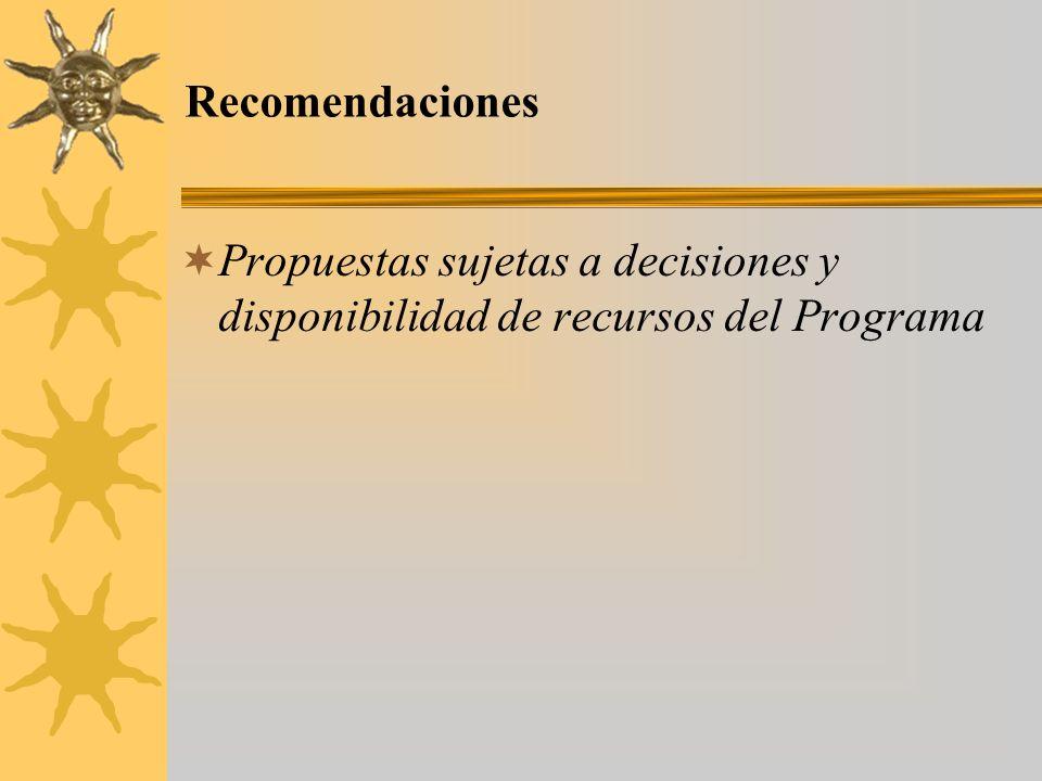 Recomendaciones Propuestas sujetas a decisiones y disponibilidad de recursos del Programa