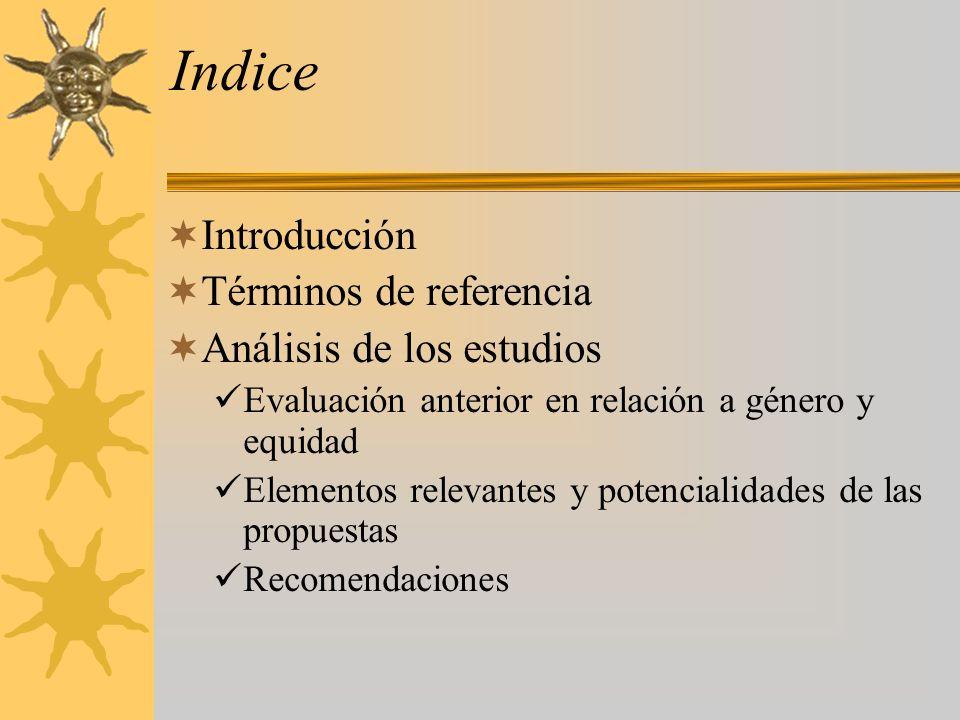 Indice Introducción Términos de referencia Análisis de los estudios Evaluación anterior en relación a género y equidad Elementos relevantes y potencialidades de las propuestas Recomendaciones