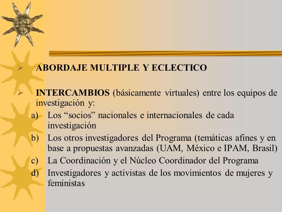 ABORDAJE MULTIPLE Y ECLECTICO INTERCAMBIOS (básicamente virtuales) entre los equipos de investigación y: a)Los socios nacionales e internacionales de