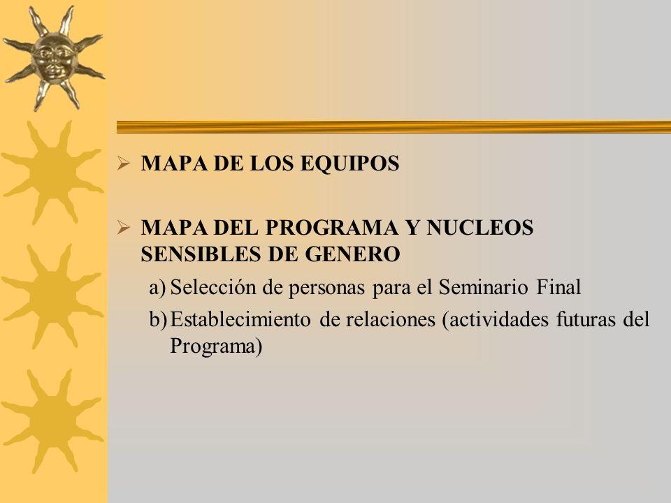 MAPA DE LOS EQUIPOS MAPA DEL PROGRAMA Y NUCLEOS SENSIBLES DE GENERO a)Selección de personas para el Seminario Final b)Establecimiento de relaciones (actividades futuras del Programa)