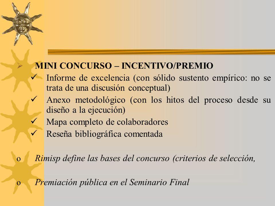 MINI CONCURSO – INCENTIVO/PREMIO Informe de excelencia (con sólido sustento empírico: no se trata de una discusión conceptual) Anexo metodológico (con