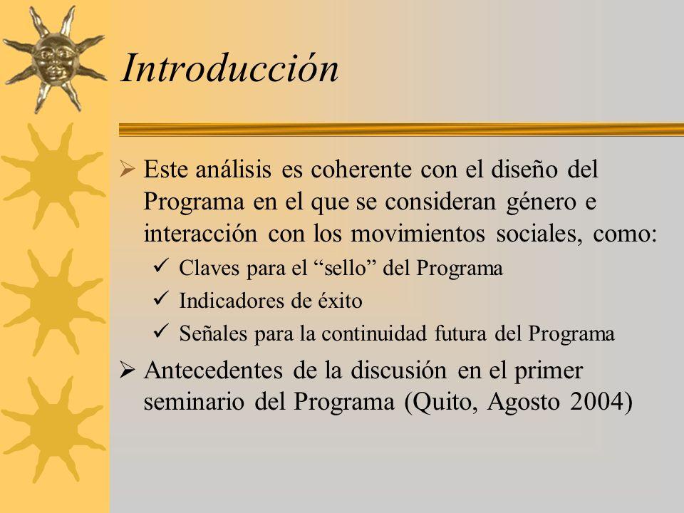 Introducción Este análisis es coherente con el diseño del Programa en el que se consideran género e interacción con los movimientos sociales, como: Claves para el sello del Programa Indicadores de éxito Señales para la continuidad futura del Programa Antecedentes de la discusión en el primer seminario del Programa (Quito, Agosto 2004)