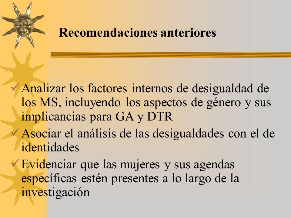 Analizar los factores internos de desigualdad de los MS, incluyendo los aspectos de género y sus implicancias para GA y DTR Asociar el análisis de las