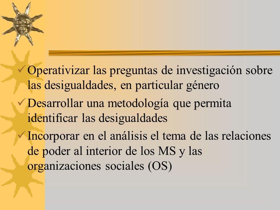 Operativizar las preguntas de investigación sobre las desigualdades, en particular género Desarrollar una metodología que permita identificar las desigualdades Incorporar en el análisis el tema de las relaciones de poder al interior de los MS y las organizaciones sociales (OS)