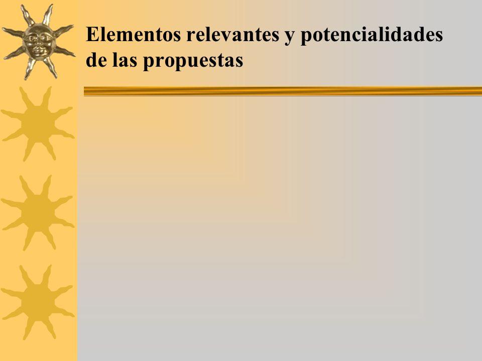Elementos relevantes y potencialidades de las propuestas