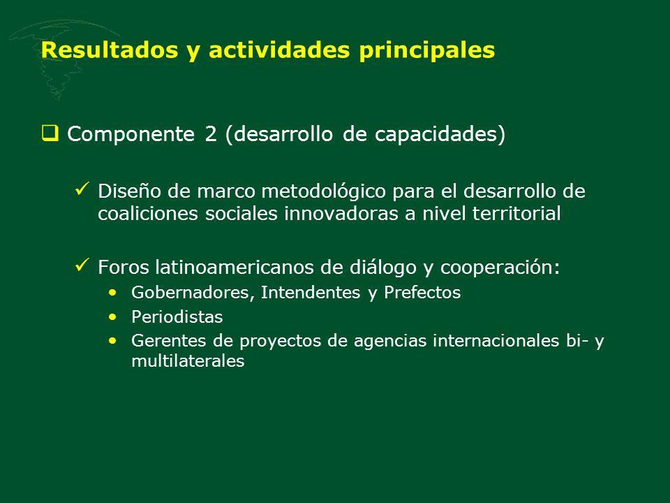 Resultados y actividades principales Componente 2 (desarrollo de capacidades) Diseño de marco metodológico para el desarrollo de coaliciones sociales innovadoras a nivel territorial Foros latinoamericanos de diálogo y cooperación: Gobernadores, Intendentes y Prefectos Periodistas Gerentes de proyectos de agencias internacionales bi- y multilaterales