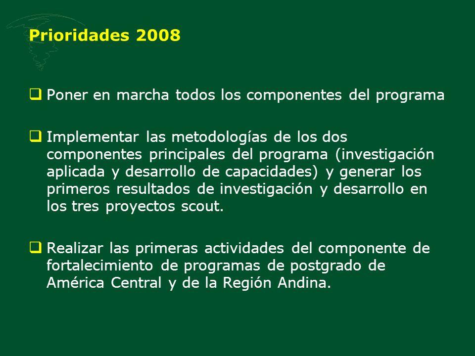 Prioridades 2008 Poner en marcha todos los componentes del programa Implementar las metodologías de los dos componentes principales del programa (investigación aplicada y desarrollo de capacidades) y generar los primeros resultados de investigación y desarrollo en los tres proyectos scout.