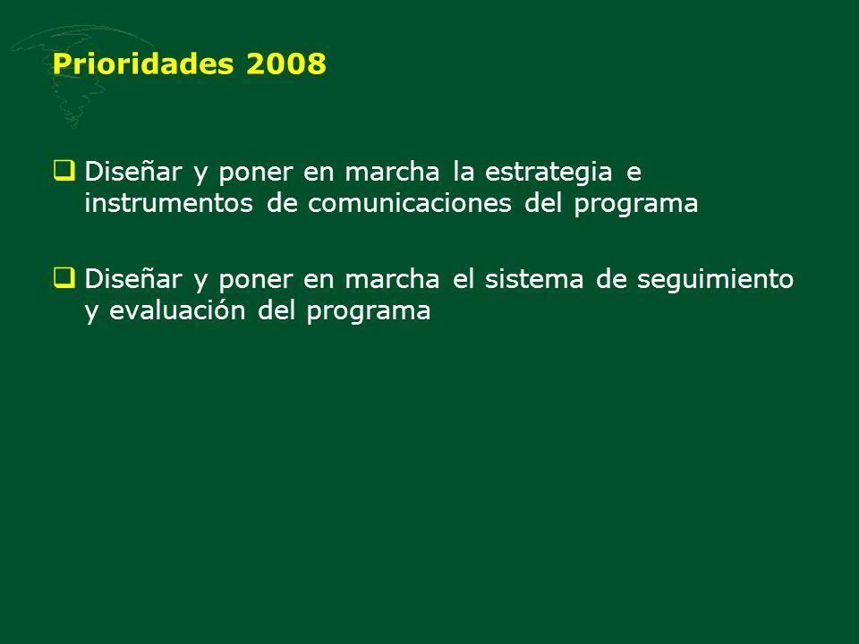 Prioridades 2008 Diseñar y poner en marcha la estrategia e instrumentos de comunicaciones del programa Diseñar y poner en marcha el sistema de seguimiento y evaluación del programa