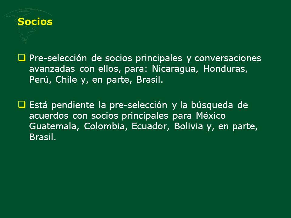 Socios Pre-selección de socios principales y conversaciones avanzadas con ellos, para: Nicaragua, Honduras, Perú, Chile y, en parte, Brasil.