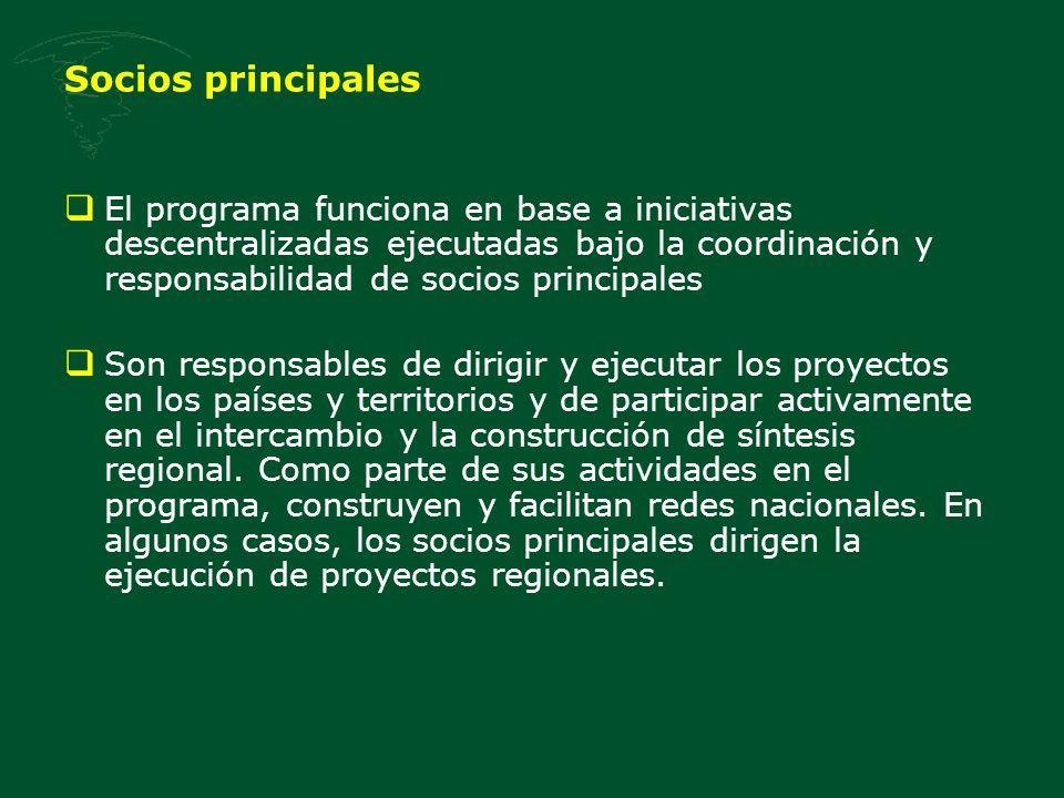 Socios principales El programa funciona en base a iniciativas descentralizadas ejecutadas bajo la coordinación y responsabilidad de socios principales Son responsables de dirigir y ejecutar los proyectos en los países y territorios y de participar activamente en el intercambio y la construcción de síntesis regional.