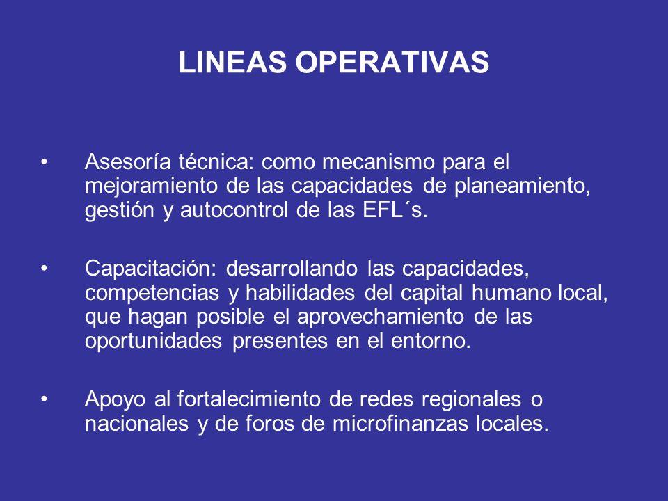 LINEAS OPERATIVAS Asesoría técnica: como mecanismo para el mejoramiento de las capacidades de planeamiento, gestión y autocontrol de las EFL´s. Capaci