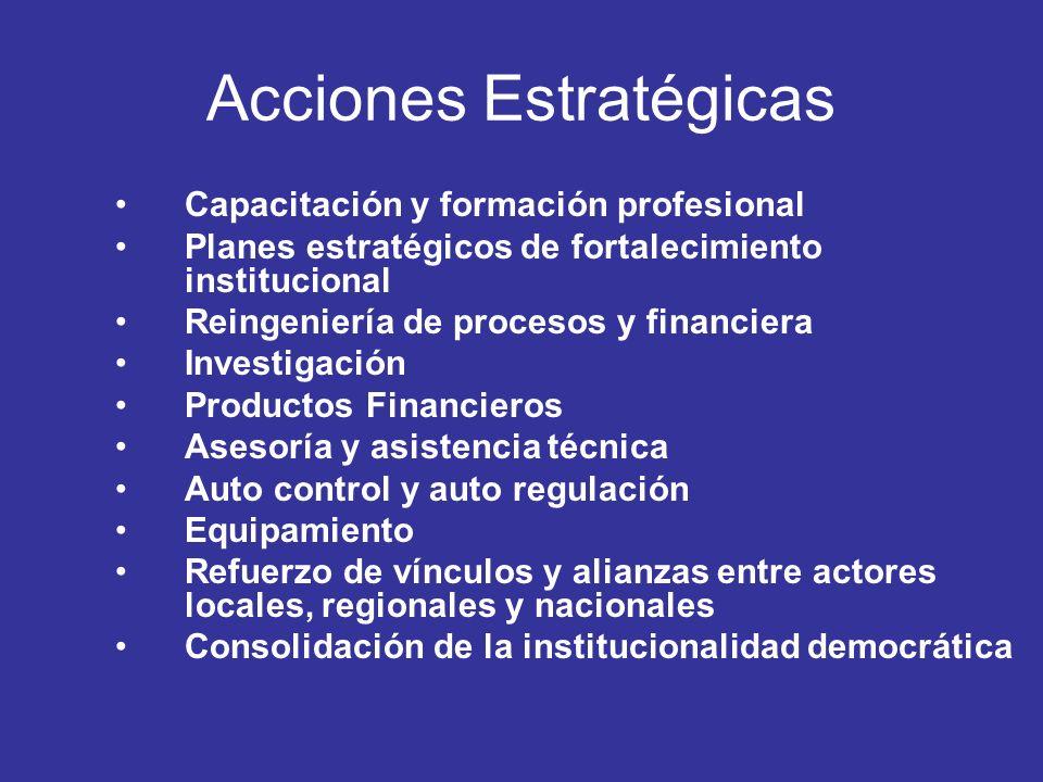 Acciones Estratégicas Capacitación y formación profesional Planes estratégicos de fortalecimiento institucional Reingeniería de procesos y financiera